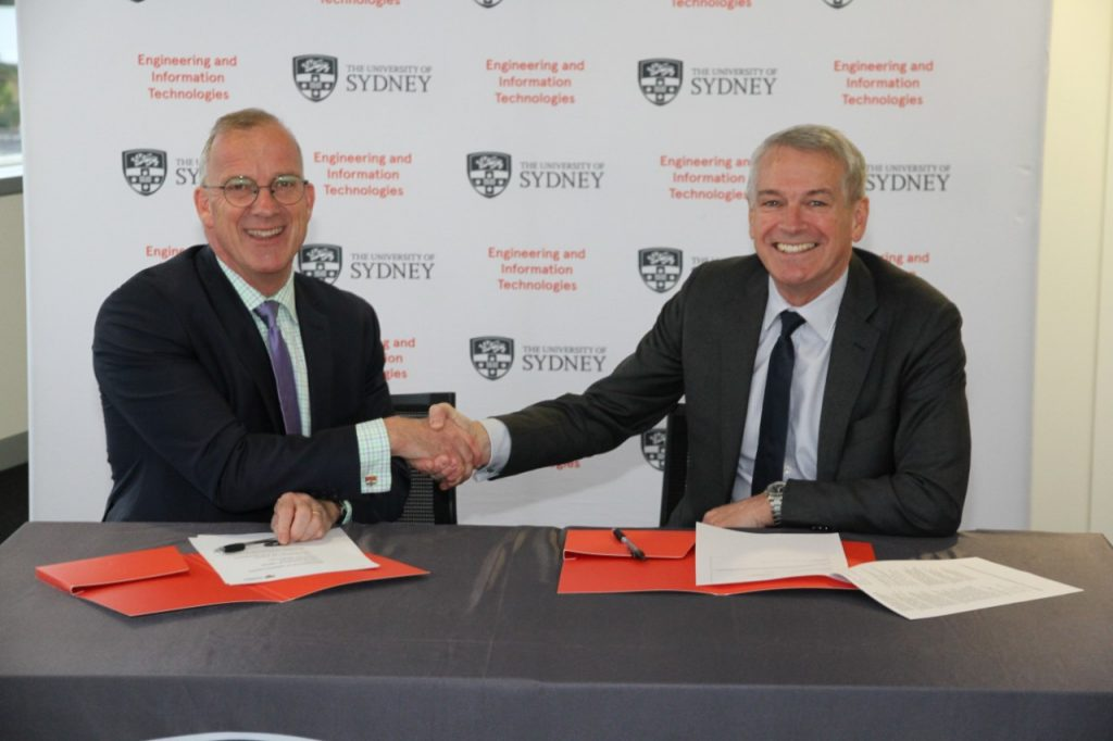 University of Sydney Vice-Chancellor and Principal Dr Michael Spence and Thales Australia Country Director and CEO Chris Jenkins sign a 2017 MOU agreement.