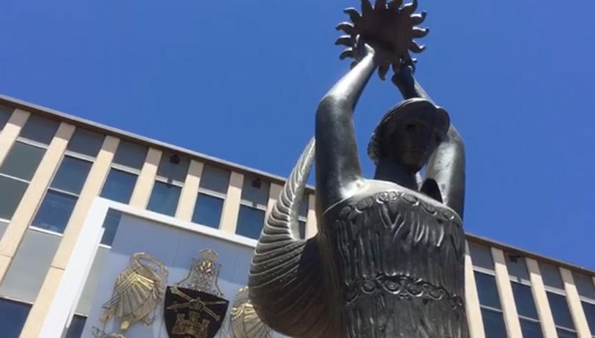 Statue of Ethos outside the ACT Legislative Assembly