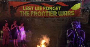 Frontier wars banner and fire