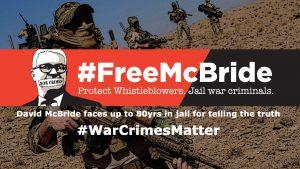 Free McBride War Crimes Matter banner