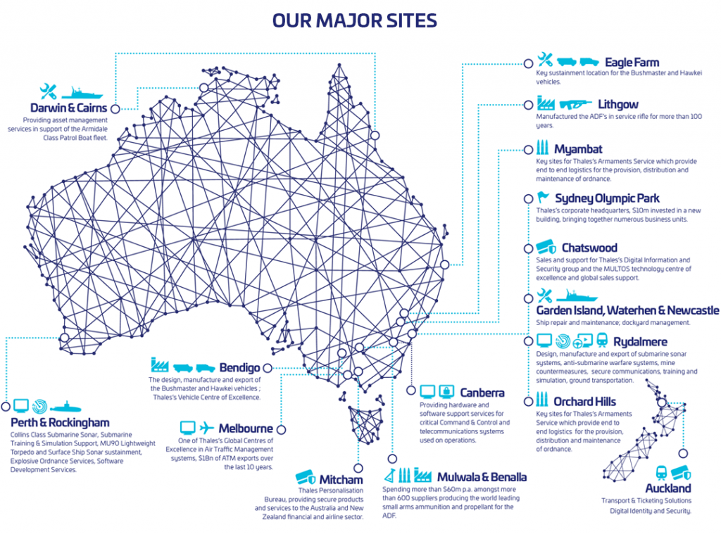 Thales Map of Australian Locations