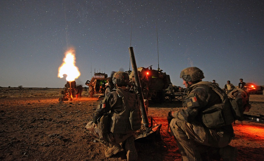 Mortar 81mm being fired