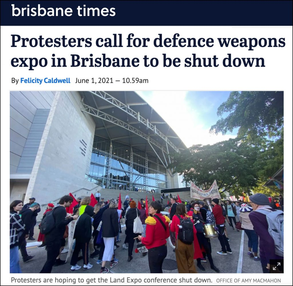 Brisbane Times article - Protesters call for defence weapons expo in Brisbane to be shut down