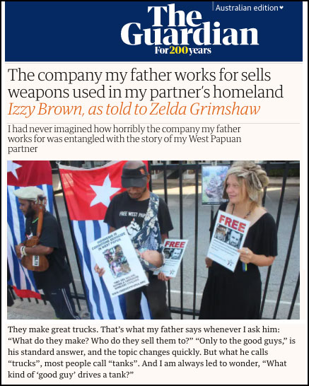 The company my father works for sells weapons used in my partner's homeland Izzy Brown, as told to Zelda Grimshaw